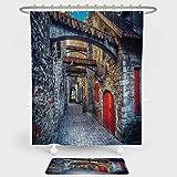 """中世の装飾 シャワーカーテンとフロアマットの組み合わせセット Old Monk ライティング 過去のイラスト レトロスタイル プリント 装飾や日常使いに クリーム ブラウン Curtain=71""""W*71""""L/Mat=20""""W*31""""L Shower Curtain-119146"""