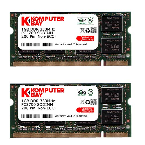 2GBメモリ 2枚組 DDR 333MHz PC2700 1GBX2 DUAL 200pin SODIMM ノート パソコン用 増設メモリ 2GB デュアル