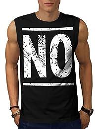 Wellcoda 単に ノー おもしろいです ファッション 男性用 S-5XL 袖なしTシャツ