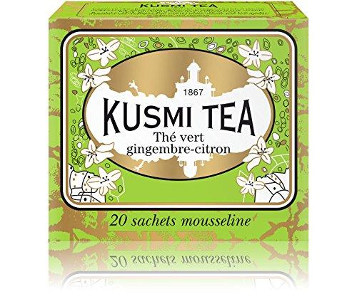(KUSMI TEA) クスミティー ジンジャー レモン グリーンティー ティーバッグ (個別包装なし) 2.2g×20袋入り