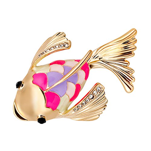 Baoblaze 全2色 可愛い  ブローチ  金魚モチーフ  ラインストーン コサージュ 1本 - ゴールド