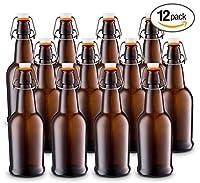 Tiabo 自家製醸造グラスビールボトル 簡単ワイヤースイングキャップ&気密ゴム密封 - 16オンス - 12本ケース ブラウン SCGBBA12