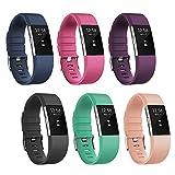 Fitbit Best Deals - Fitbit Charge 2 穴留め式バンド 【Mothca】腕時計変えベルト シリコンストラップ スペアベルト ウォッチベルト バンド ご自分でサイズ調整可能バックル (ブラック, S)
