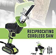 48V Cordless Reciprocating Saw, Portable Woodworking Cutters Metal Cutting Wood Tool with 1 Battery 4 Saw Blad