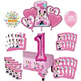 Mayflower Products ミニーマウス 1歳の誕生日パーティーグッズ 8ゲストデコレーションキットとバルーンブーケ