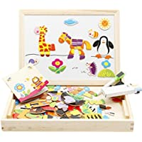Joyeee Multi-Functional Magnetic Wooden Drawing Board Games with Tray - Early Educational Chalkboard Easel Toys Dry Erase Boards Forest Animal Jigsaw Puzzle - Perfect Christmas Gift Idea