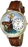 馬 茶色レザー ゴールドフレーム時計 #G0110005