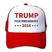 KY レディース ファッション,今季最新,帽子 登山 レジャー・キャップ 男女兼用 おしゃれ 日焼け止め,紫外線防止 2016年 ドナルド・トランプ プレジデントを選挙する 英字プリント レッド