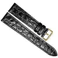 交換用の腕時計ベルト 本革 ステンレスメタル製の中留付き 18mm Ultra-thin/Black