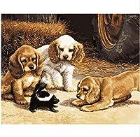 キャンバスの表面に壁画絵画写真プリント 写真diyデジタルキャンバス油絵ホームデコレーション用リビングルーム現代抽象油絵素敵な犬額装 キャンバスに壁アートの装飾ポスターアートワークホームオフィスの装飾の写真ウォールアート (色 : Framed)