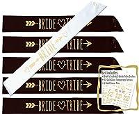 glamist Bride Tribe 18 Piece Bachelorette Sash Set - 6 Gold Glitter Black & White Bridal Shower Sashes, 6 BONUS Bride & Bride Tribe Temporary GoldGloss Tattoos, & 6 Gold Decor Pins