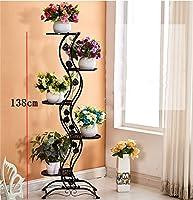 Yxsd ヨーロッパのシンプルなバルコニー床タイプの花の鉄/金属多層観葉植物花の垂直ディスプレイラック (色 : ブラック)
