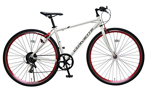 CHEVROLET(シボレー) CORVETTE(コルベット) AL-CRB7006 ホワイト 700c クロスバイク 軽量アルミフレーム シマノ6段変速 鮮やか前後アルマイト塗装リム 前輪クイックレリーズ シボレーコルベットWネームスタイリッシュクロス 84103-1299