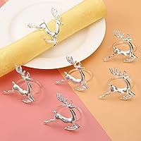 6個入り ナプキンリング 鹿の形 ナプキンホルダー 結婚式 披露宴 バックル テーブル装飾 ナプキンティッシュ リング パーティー ディナー 食器飾り キラキラ シルバー