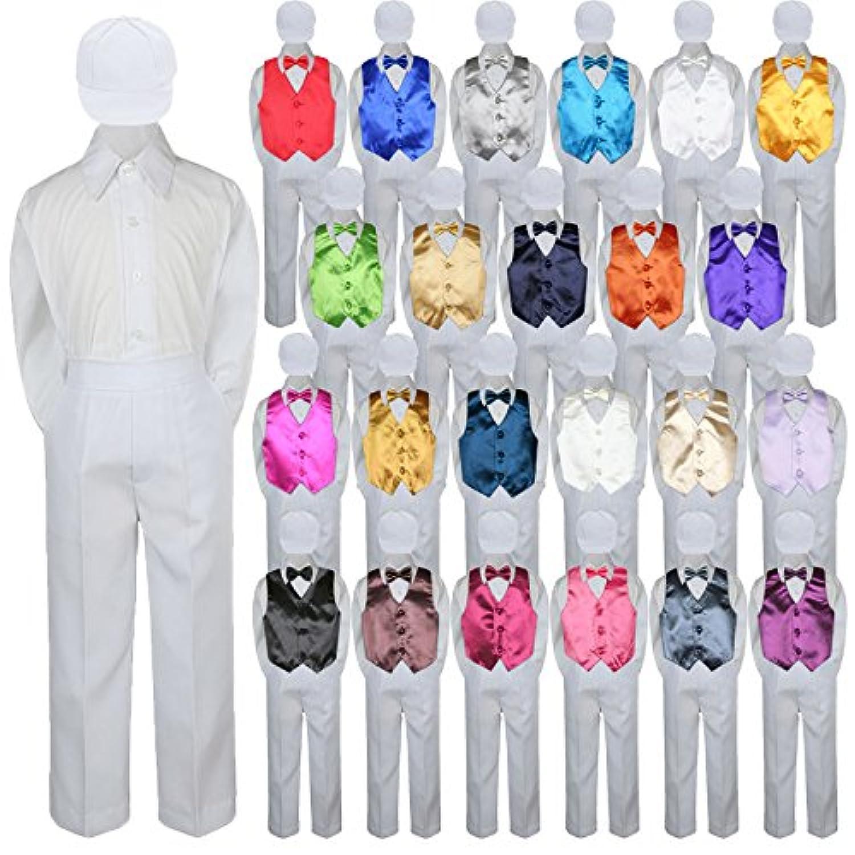 5pcベビー幼児キッド少年イベントスーツホワイトパンツシャツベスト蝶ネクタイ帽子セットsm-7