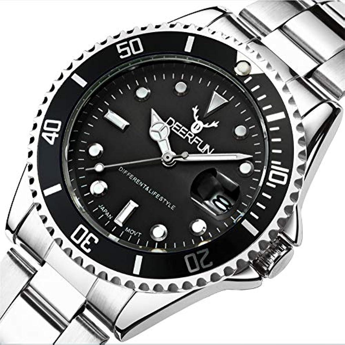 被る表面叱る防水腕時計メンズ高級ブランドカジュアルステンレススチールスポーツ腕時計クォーツ腕時計メンズ腕時計 (A)