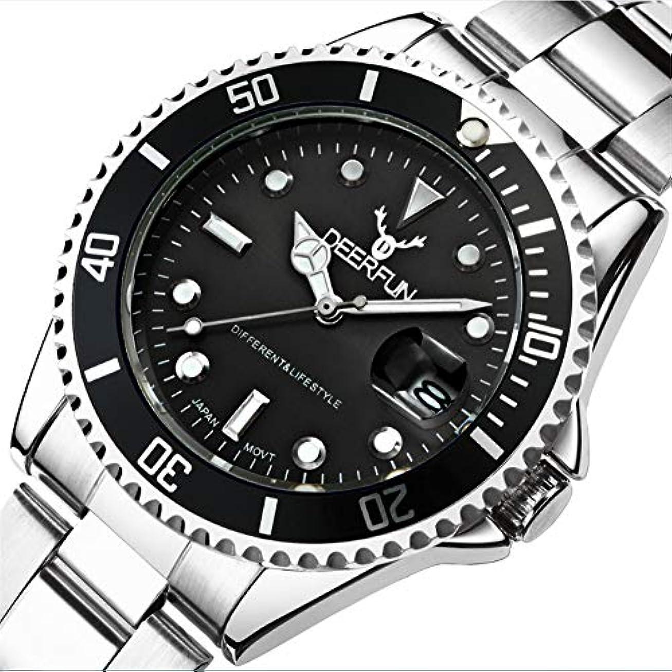 容赦ない飢近代化する防水腕時計メンズ高級ブランドカジュアルステンレススチールスポーツ腕時計クォーツ腕時計メンズ腕時計 (A)