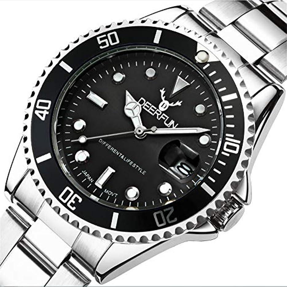 花弁矛盾する見せます防水腕時計メンズ高級ブランドカジュアルステンレススチールスポーツ腕時計クォーツ腕時計メンズ腕時計 (A)