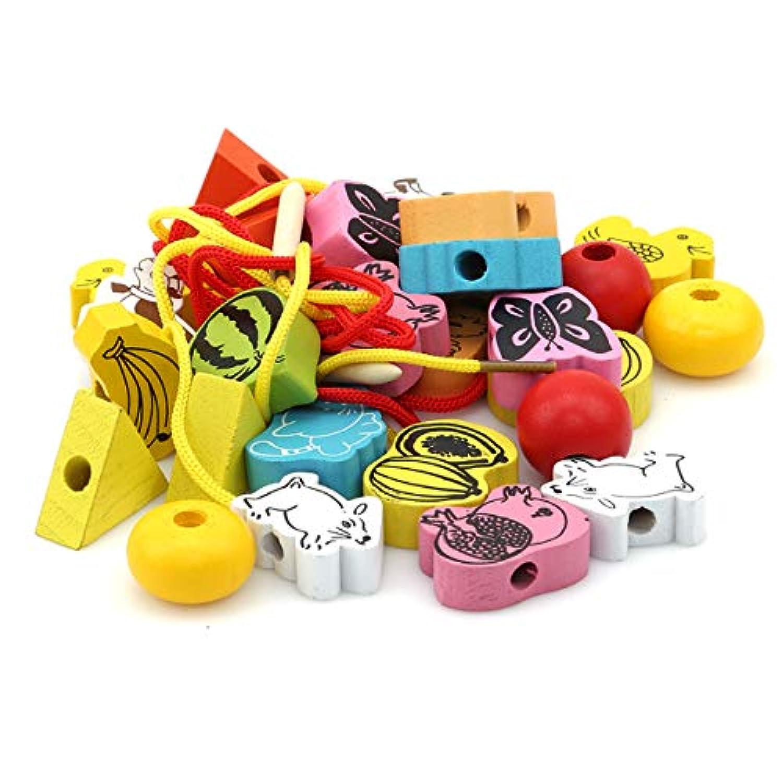 EJY 子供パズル スレッド 紐 レース ビーズ おもちゃ 赤ちゃん 早期教育 スキル 分類玩具