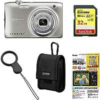 Nikon デジタルカメラ COOLPIX A100 光学5倍 2005万画素 シルバー A100SL + アクセサリー4点セット(SDカード 32GB、液晶保護フィルム、カメラケース、リングストラップ)