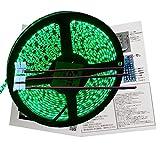 Smile Panda LEDテープライト 5m 防水 12V 緑 グリーン 黒ベース 高密度 2835 600連 ケーブルコネクタ3本 配線 20cm 0.5sq