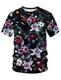 Pizoff(ピゾフ) メンズ 花柄Tシャツ 半袖 リアル 3Dプリント おしゃれ 原宿系 派手 B系 ユニセックス カットソーAM089-17-XXL