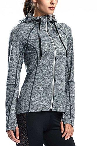 ランニング フーデッドジャケット トレーニング ウィンドジャケット レディース 長袖 背中ポケット付き 指穴 吸汗 速乾 グレー M