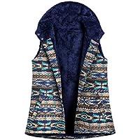 MogogN Womens Hoodie Colorful Fleece Linen Printed Warm Winter Vest Waistcoat