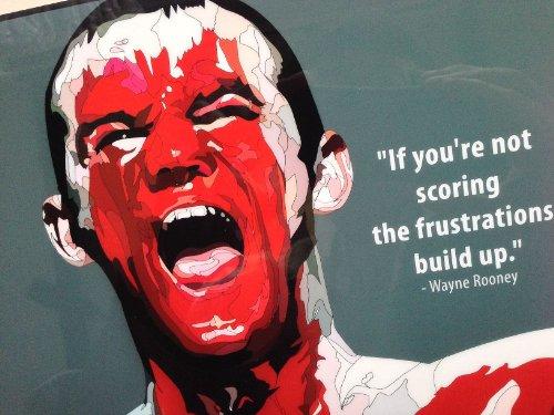 ウェイン・ルーニー イングランド代表 海外製 サッカーグラフィックアートパネル 木製ポスター インテリア