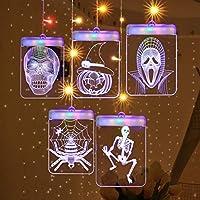 AlluoleハロウィンLED 3Dウィンドウアクリルサインシーリングライト装飾ホリデーフェアリー壁掛け照明装飾USB電源