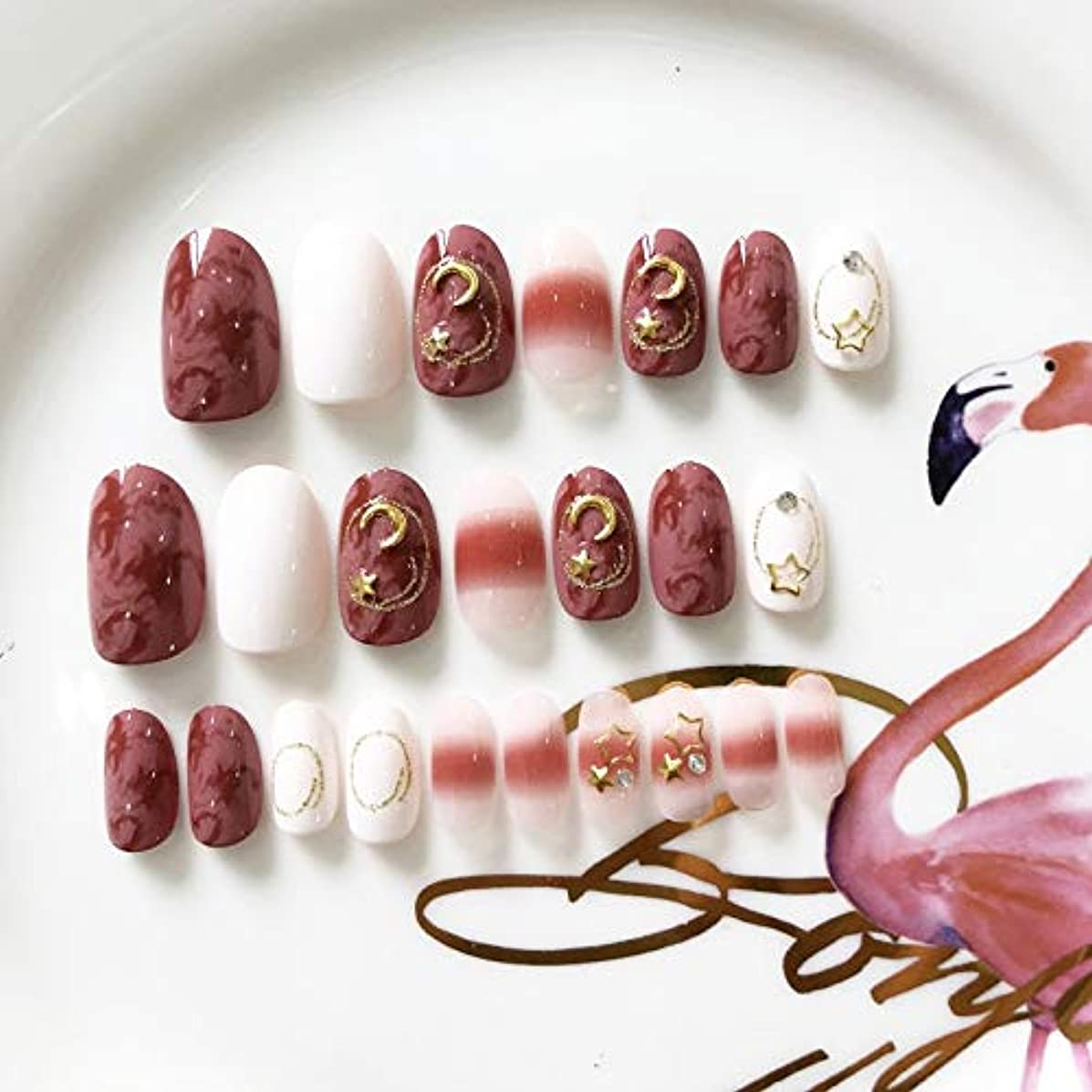 吸収する軍ハブXUANHU HOME 人工偽爪滑らかな楕円ピンクフルカバー偽爪24pcs 12サイズ