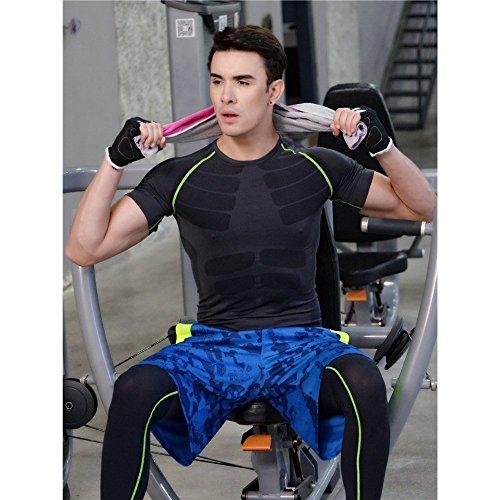LeoSport 新発売メンズユニタードスポーツ 胸筋 筋トレ 筋肉 機能性 骨盤矯正 姿勢矯正 抗菌 防臭 短袖ウエア軽く快適通気性透気急速乾燥服 (XL, グレー+グリン)