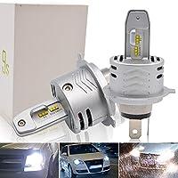 Safego H4 LED 車検対応 車用 ヘッドライト 6000K 電球 キット H4高輝度 LEDバルブ 変換 キット 12v 置き換 HID 電球 一体型 一年保障 (H4 HI/LO, 9S)