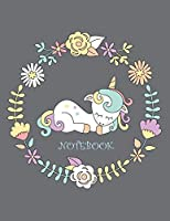 Notebook: Cute Unicorn on Grey Cover and Dot Graph Line Sketch Pages, Extra Large (8.5 X 11) Inches, 110 Pages, White Paper, Sketch, Draw and Paint