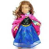 ノーブランド品 18 インチ アメリカンガール 着せ替え人形 ドレス ケープ 洋服 贈り物 ブルーとフクシア