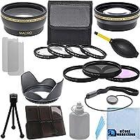 Pro Series 58mm 0.43X広角レンズ+ 2.2X望遠レンズ+ 3個入りフィルタセット+ 4pc Close Upレンズ+レンズフードwithデラックスレンズアクセサリーキットfor Canon EF - S 55–250mm f / 4–5.6is IIレンズ、Canon EF 85mm f / 1.8USMレンズ、Canon EF 70–300mm f / 4–5.6is USMレンズ
