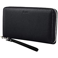Brosin Genuine Leather RFID Wallet - Anti-Theft Leather Wristlet Wallets for Women Wallet for Credit Card Passport