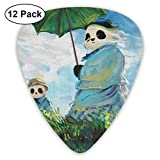 散歩、日傘をさすパンダ ピック ギターピック 12個入り それぞれ厚さ カラフル PUレザー ピックケース付き Thin 0.46mm、Medium 0.71mm、Heavy 0.96mm 各4枚