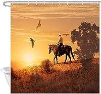 ウエスタンシャワーカーテン、カウボーイは、暑い太陽の下で砂漠を駆け抜けるシャワーカーテン防水浴室の装飾フック付きポリエステル生地のカーテンセット 180X180 CM