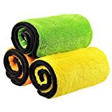 KALDA洗車タオル、840gsmとても分厚いマイクロファイバーの超吸収ダブルレイヤータオル、車を洗濯し、掃除し、磨き、乾燥する時に使われたタオル(38 x 45 cm、3枚セット)