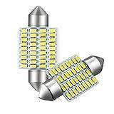 GOSMY LED ルームランプ T10 36mm 37mm 36LED SMD3014 ホワイト 白 6000K 12-24V対応 一年品質保証 2個セット (36mm)