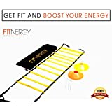 Speed and AGILITY LADDER Training Equipment by F1TNERGY - Orange 12 Rung Ladder FREE Carrying BAG + 10 Speed CONES (5 Orange + 5 Yellow) + 4 Pegs & D-Rings - SOCCER TRAINING Football Gear Hockey Mask