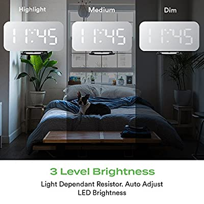 """AusHome Alarm Clock, Digital Clock with 6.5"""" Clear-View Mirror LED Display, Dual USB Port and Charger, Adjustable Brightness and Auto-Dimmer, Quick Snooze Button, w/Dual USB AU Adapter"""