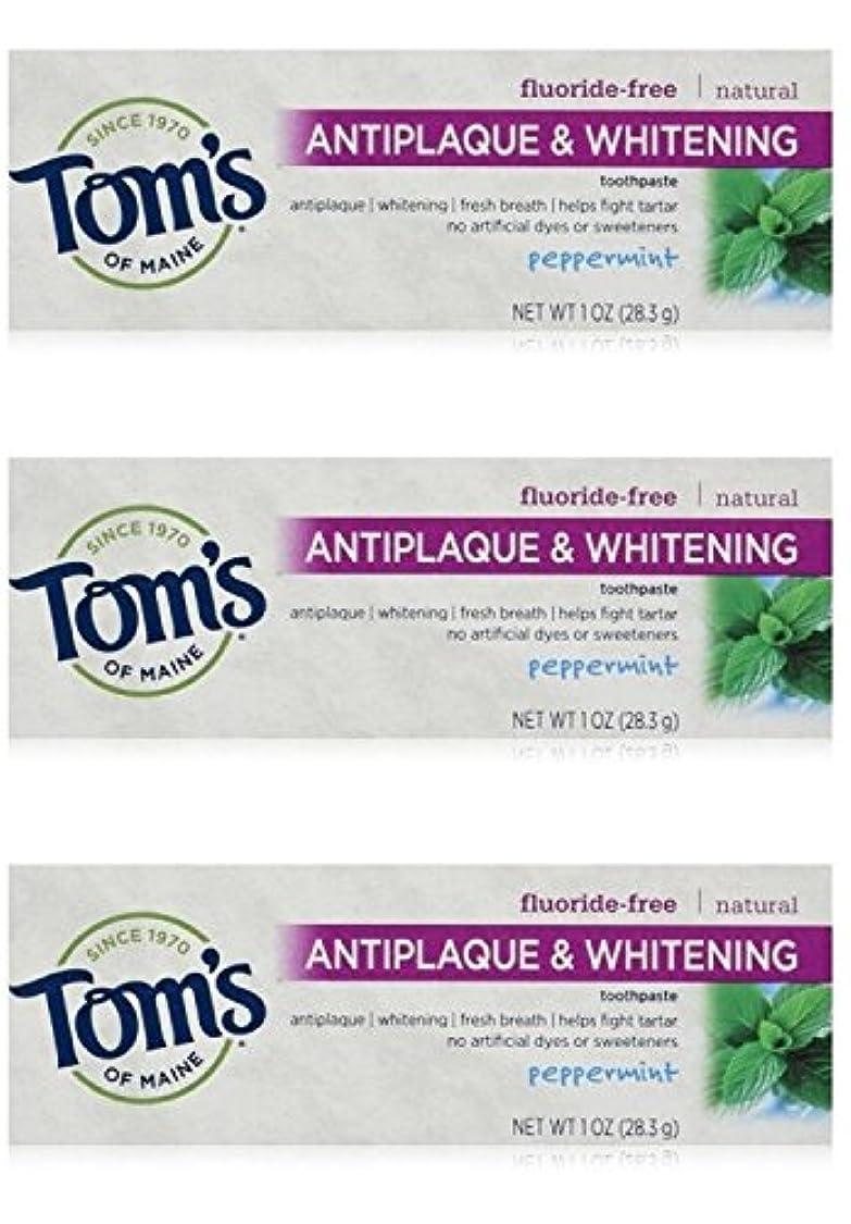 ほうきダーベビルのテス厄介なTom's of Maine Natural Antiplaque Tartar Control & Whitening Toothpaste Peppermint 1 oz Travel Size by Tom's of Maine