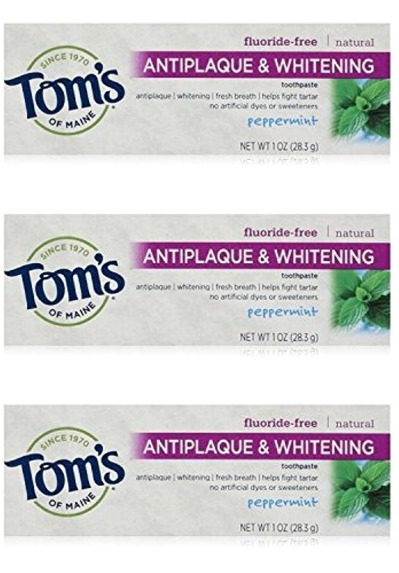 レクリエーション結紮キャンバスTom's of Maine Natural Antiplaque Tartar Control & Whitening Toothpaste Peppermint 1 oz Travel Size by Tom's of...