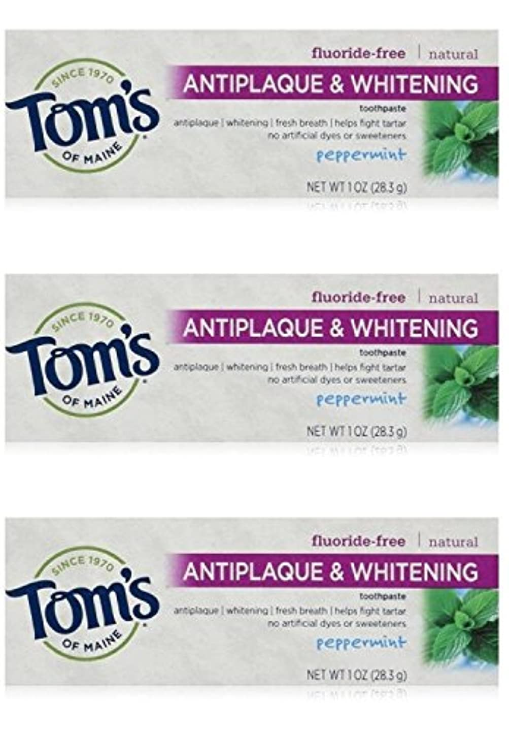 氏肉ネコTom's of Maine Natural Antiplaque Tartar Control & Whitening Toothpaste Peppermint 1 oz Travel Size by Tom's of...