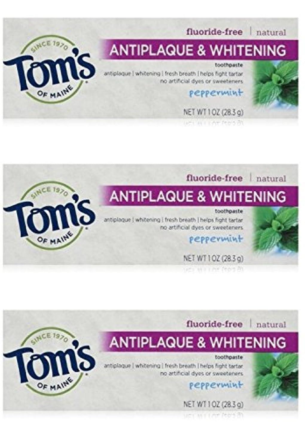 縞模様の薬用ボーナスTom's of Maine Natural Antiplaque Tartar Control & Whitening Toothpaste Peppermint 1 oz Travel Size by Tom's of...