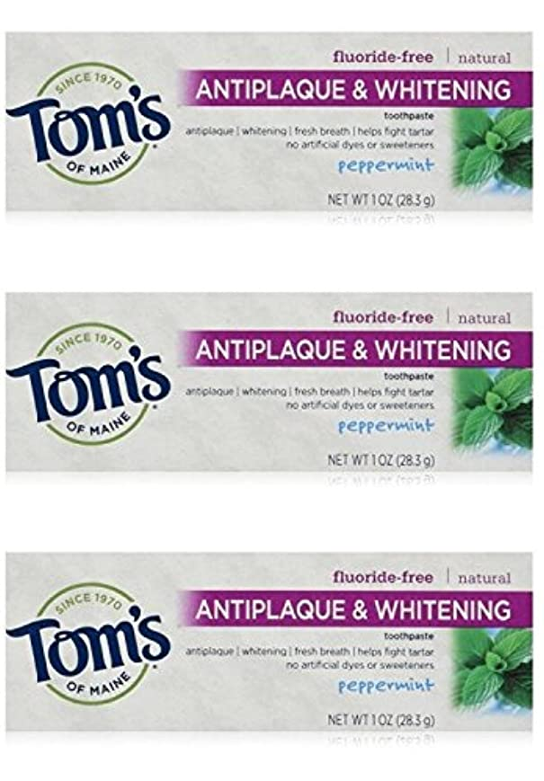 日付付きショルダー暴露するTom's of Maine Natural Antiplaque Tartar Control & Whitening Toothpaste Peppermint 1 oz Travel Size by Tom's of Maine