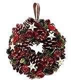 丸和貿易  クリスマス リース レッドパインスター  (L)  壁掛け  玄関飾り    4008738-02