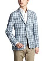 Linen Plaid 2-button Patch Pocket Jacket 3122-199-0353: Blue